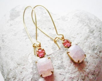 Vintage Crackle Rose Pink Glass Stone and Rose Pink Swarovski Crystal set in Brass Prong Setting On Gilt Kidney Wire Earring Hooks.
