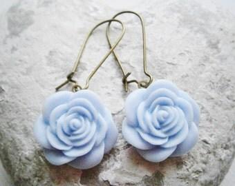 Pale Blue Rose Kidney Wire Earrings/Dangle Earrings/Rose Earrings/Rose Dangle Earrings/Powder Blue Rose Earrings