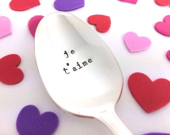 Je t'aime Spoon - Hand Stamped Vintage Silverware, i love you spoon, gift under 15 valentines day gift