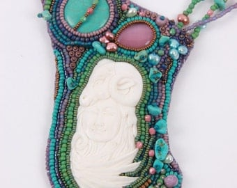 Bead embroidered necklace Indian