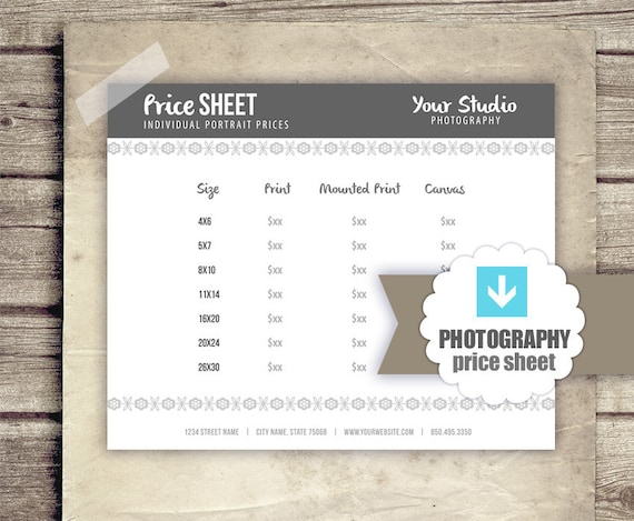 photography business forms prints price sheet for