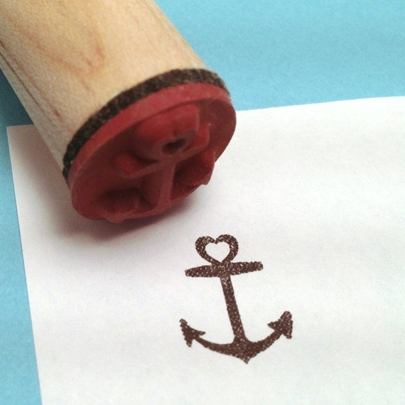 heart anchor rubber stamp pirate nautical tattoo by radstamps. Black Bedroom Furniture Sets. Home Design Ideas