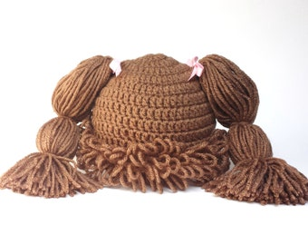 Cabbage Patch Hat, Cabbage patch wig, crochet cabbage patch, light brown