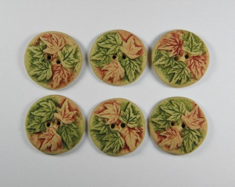 6 Small Rustic Maple Leaf Buttons-Choose you color combination