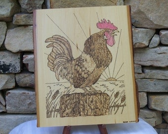 Sunrise Rooster Woodburning Pyrography