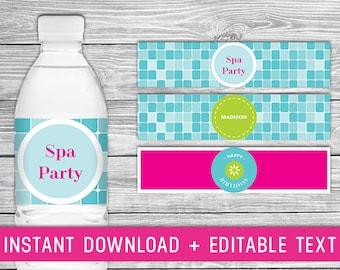 Printable Water Bottle Labels - Spa Birthday Party (girls spa party favors, spa birthday party favors, spa birthday party printables)