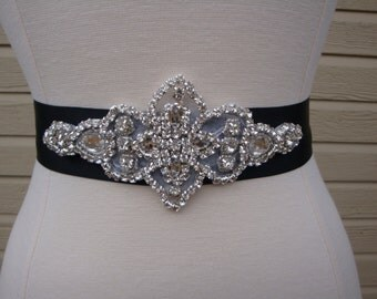 Bridal Sash - Wedding Dress Sash Belt - Black Rhinestone Crystal Wedding Sash - Black Rhinestone Bridal Sash
