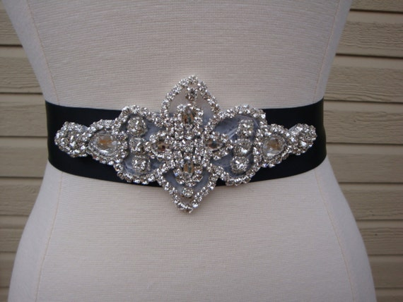 Bridal sash wedding dress sash belt black rhinestone for Rhinestone sashes for wedding dresses