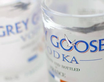 Two Grey Goose rocks glasses - upcycled recycled repurposed bottle tumblers - factory direct
