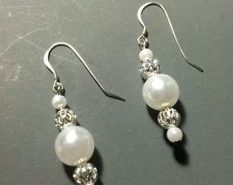 White Faux Pearl and Filigree Earrings