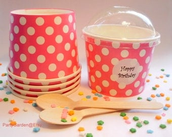50 Hot Pink Polka Dot Ice Cream Cups - Large 16 oz