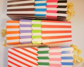 200  Striped popcorn boxes treats favors - Your Choice of Colors