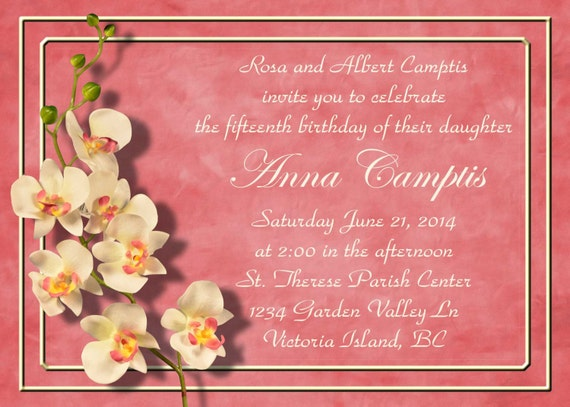 Coral Orchids Invitation Announcement for Wedding, Save the Date, Shower, Birthday or Quinceanera (DIY Printable Template Instant Download)