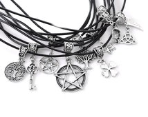 Antique Silver Pagan Spiritual Charm Cord Unisex Necklace - Pentacle, Angel Wing, Skull, Shamrock, Tree of Life, Key