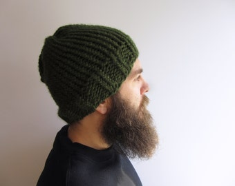 Men's Knit Hat - Forest Green  / Dark Green Knit Beanie // Gifts for Him
