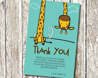Cheeky Giraffe Thank you card - Printable and Personalised