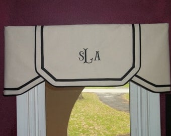 """Custom Order Listing Ivory/Natural or, White with Black trim Classic Valance- Order Only- Fits windows from 30-50"""" wide"""