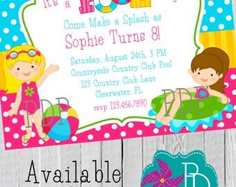 Girl Pool Party Birthday Invitation Printable- 4x6 or 5x7
