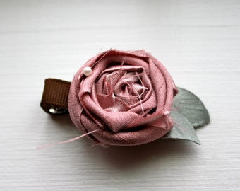 Ribbon Covered Alligator Clip with Silk Rosette Flower and Silk Leaves - Baby or Little Girl Hair Accessory