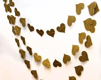 Gold glitter paper heart garland, wedding, party, decoration