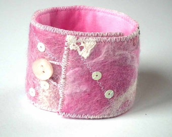Felt Cuff, Textile Bracelet, Wrist Cuff, Handmade Felted Wool, Embellished, Button & Loop Fastening, OOAK, UK Seller