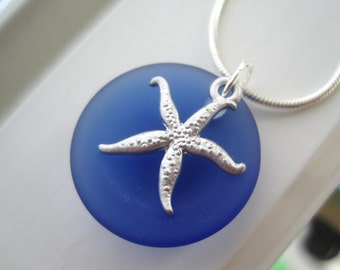 Starfish Necklace - Starfish Jewelry - Bridesmaid Gift Set - Cobalt Blue Glass Necklace - Cultured Sea Glass Jewelry - Royal Blue