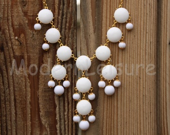 cream White Bubble necklace for woman Bib necklace statement necklace gift Chunky Necklace for holiday gift Beaded necklace jewelry