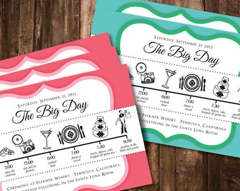 wedding day schedule/timeline for guests, digital, printable file