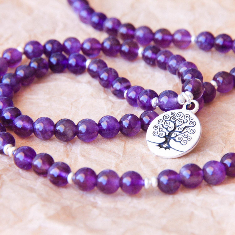 Yoga Beads: Amethyst Mala Beads Sterling Silver Yoga Jewelry Buddhist