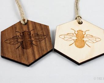 Hexagon Bumblebee Ornament - Laser Cut Wood (Walnut / Maple)