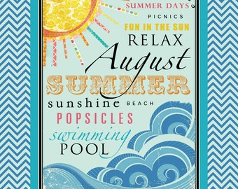 August Subway Art. Summer Printable. Instant Download.