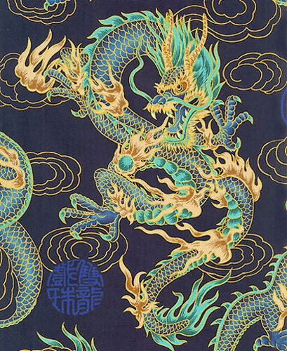 FIRE-BREATHING DRAGONS: Navy Blue Asian Japanese Fabric By
