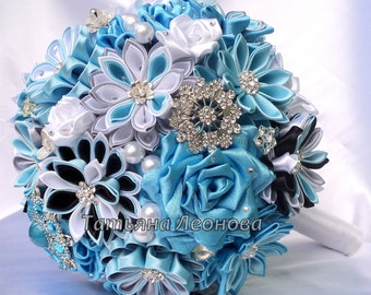 "Fabric Wedding Bouquet, Brooch bouquet ""Breath"" Blue, Gray, Turquoise and Black"