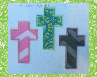 3 Crosses Applique Embroidery Design (INSTANT DOWNLOAD)