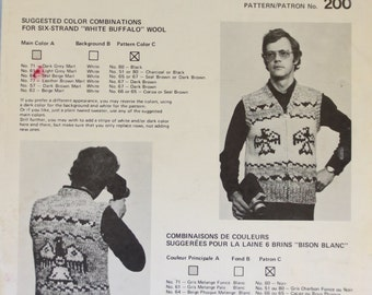 "White Buffalo Wool Cowichan Style Adult ""His or Hers"" Vest Knitting Pattern #200 Thunderbird PDF Bonus ""Design Your Own"" Charts B2G1 Sale"