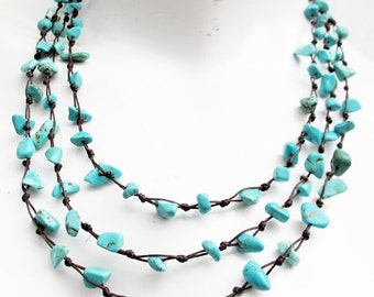 Nugget Turquoise Stone Multi Strand Layered Necklace