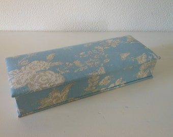 "DIY kit pencil box of 10.2"" x 3.5"" x 1.6"" (26 x 9 x 4 cm), fabric covered cartonnage"