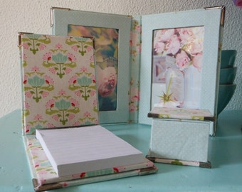 DIY kit A7 notebook, fabric covered cartonnage
