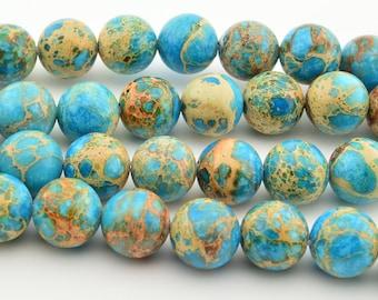 "16""   Blue Sea Sediment   Round Beads 10MM  Imperial  Gemstone Loose"