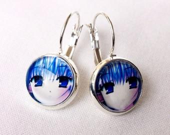 Manga Earrings / Blue Hair Girl / Exclusive for Manga Lovers