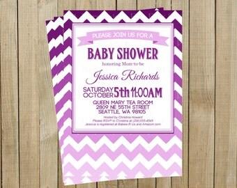 Purple Ombré Chevron Baby Shower Invitation, Custom Digital File, Printable