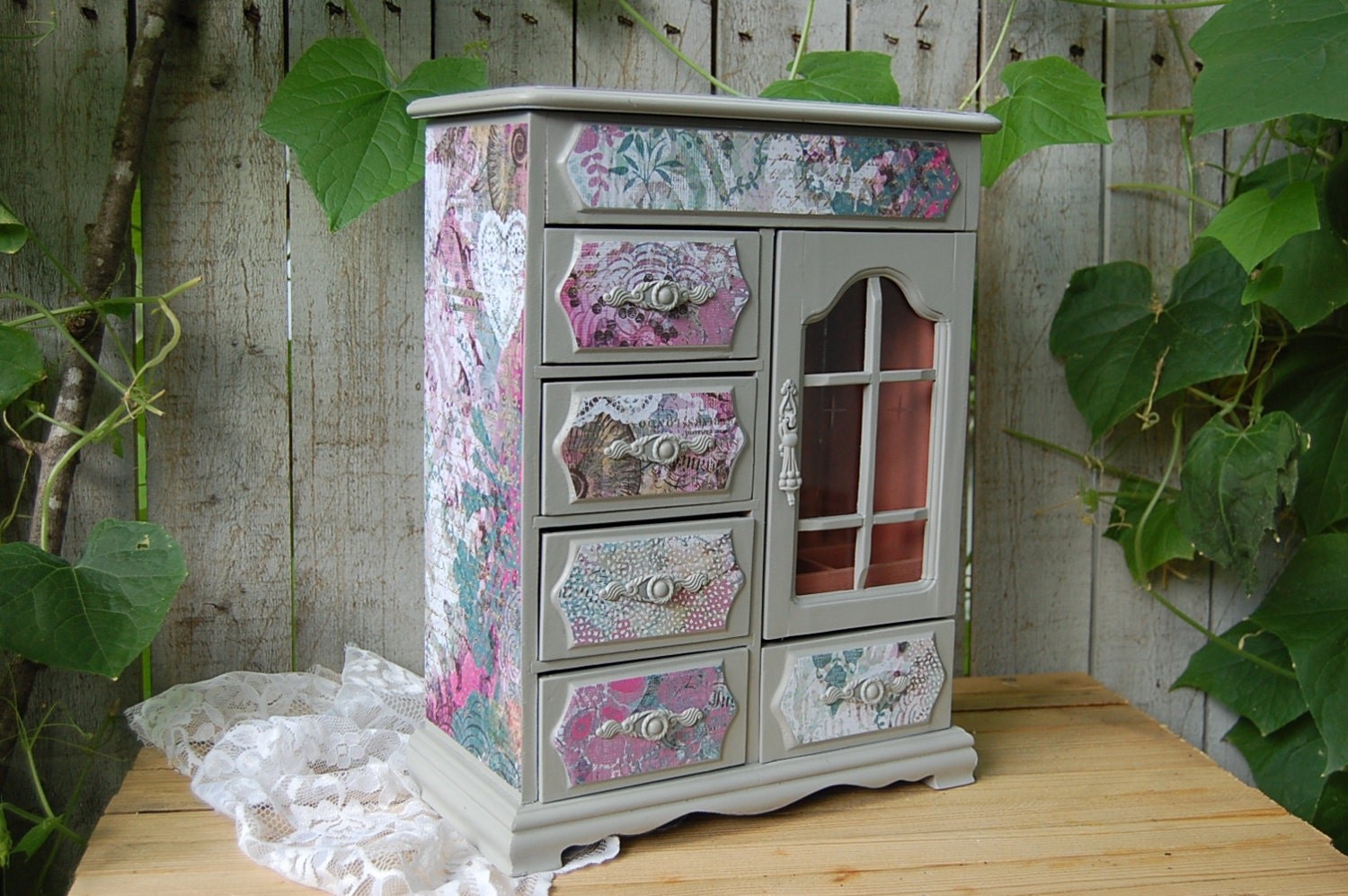 Shabby chic jewelry box armoire decoupage grey pink teal - Muebles shabby chic ...