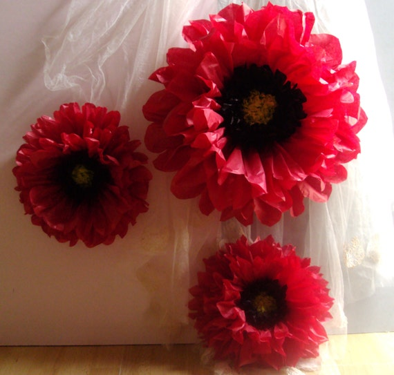 Red poppy 3 giant paper flowers perfect decorations for wedding il570xn mightylinksfo