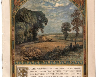 Psalm 65:11 Thou Crownest The Year Chromolithograph 1871 Sunday at Home #00092