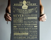 Metallic Gold/Grey Thomas Jefferson's 10 Rules to Live By Motivational Poster