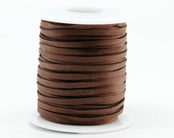 1/8 Inch 3MM Spool of Chocolate Brown Deerskin Leather Lace 50ft