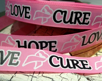 """7/8"""" BREAST CANCER Awareness Live Hope Love Grosgrain Ribbon sold by the yard"""