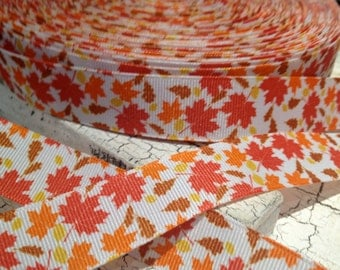 """7/8"""" Fall LEAVES HALLOWEEN grosgrain ribbon sold by the yard"""
