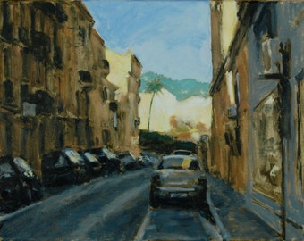 Original Oil Painting of a Street Scene in Cannes, France