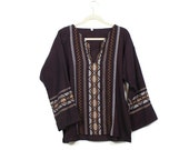 Mexican Embroidered Blouse 70s Gauze Hippie Tunic Long Sleeved Aztec Tribal Top / size M L XL Medium Large Extra Large